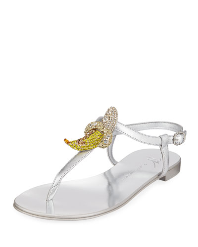 Metallic Sandals with Banana Pendant