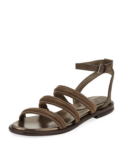 77d75d33869e Leather Bonded Wrap Sandals Quick Look. Brunello Cucinelli