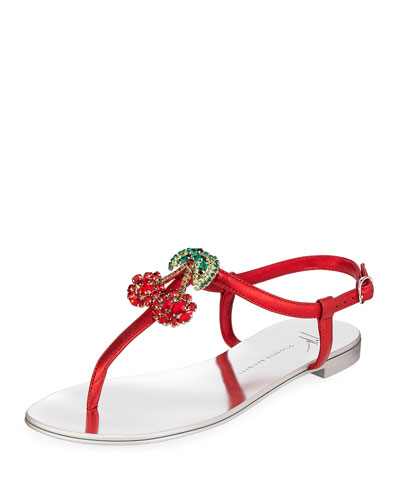 Metallic Sandals with Cherry Pendant