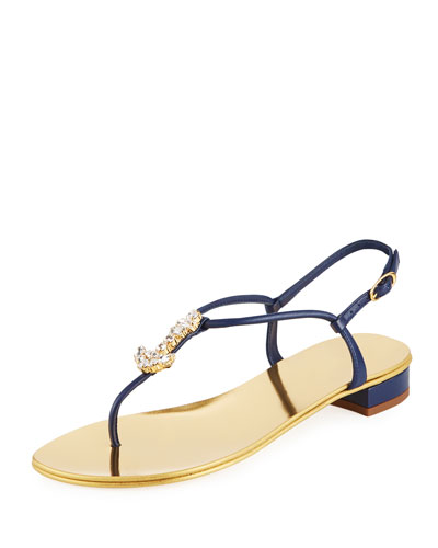 Flat Metallic Sandals with Anchor Pendant