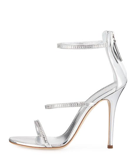 Metallic Leather 3-Band Crystal Sandals