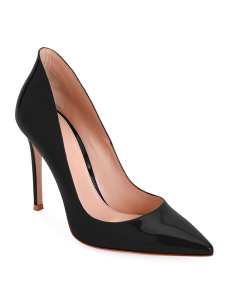 Gianvito Rossi High-Collar 105Mm Patent Leather Pumps In Black