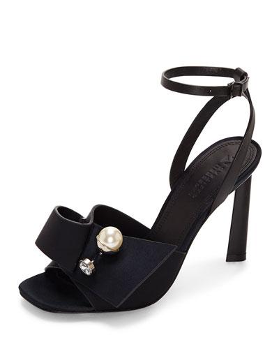 Keria Satin Embellished Sandals