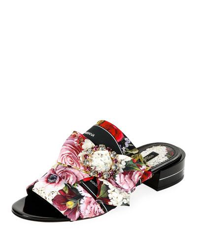Floral-Print Charmeuse Sandals