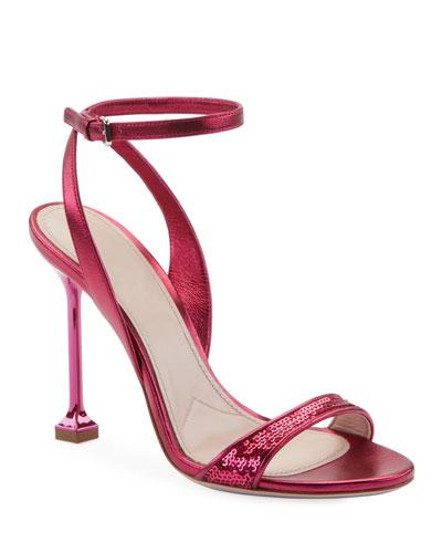 Sequined Metallic 105mm Sandals