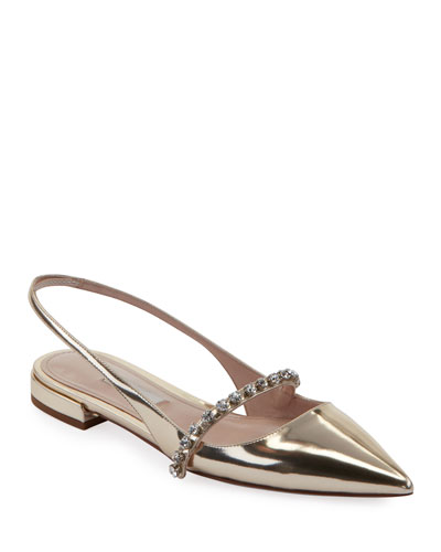Metallic Leather Crystal-Strap Flats