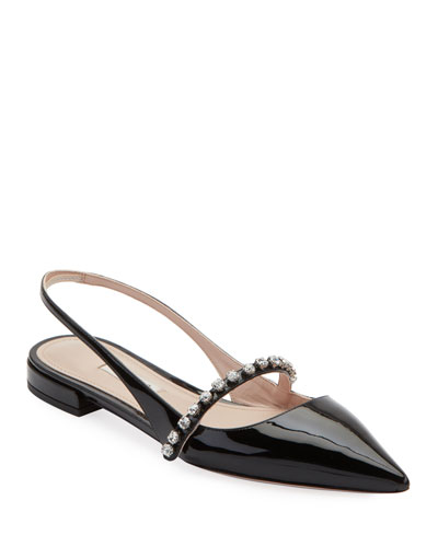 Patent Leather Crystal-Strap Slingback Flats