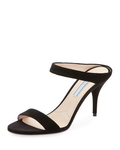 Suede Two-Strap Slide Sandals