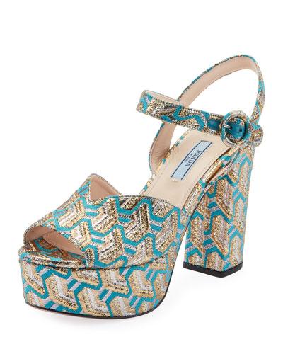 Metallic Brocade Platform Sandals