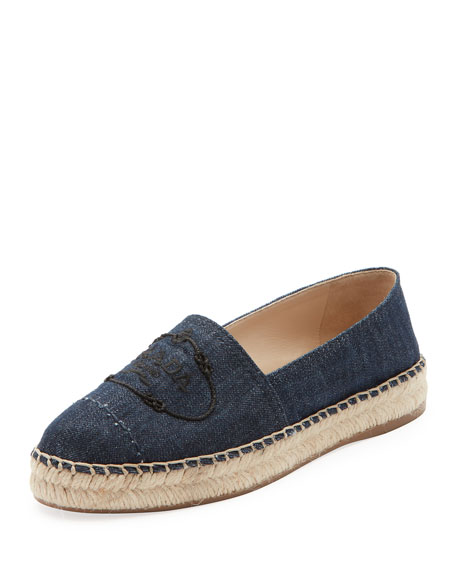 Prada Denim Logo Flat Slip-On Espadrilles