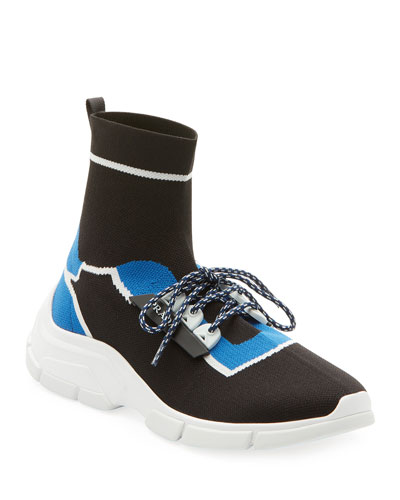 Knit Bi-Color Lace-Up Sock Sneakers
