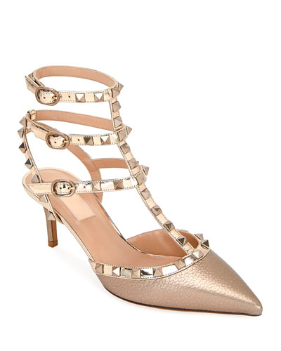 Rockstud Metallic Pointed Ankle Pumps
