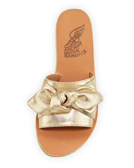 Taygete Denim Bow Flat Slide Sandals