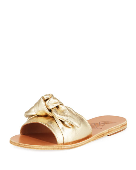 Ancient Greek Sandals Taygete Denim Bow Flat Slide