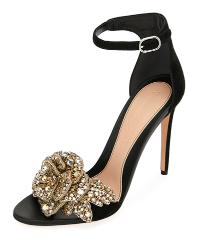 Suede High Sandals with Crystal Flower