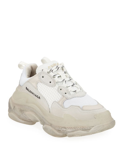 Triple S Air Nylon Sneakers with Logo, Blanc
