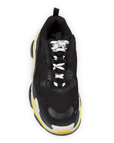Triple S Nylon Sneakers with Logo, Noir/Jaun