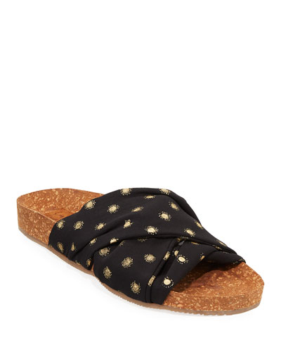Suki Metallic-Dot Cork Flat Sandals
