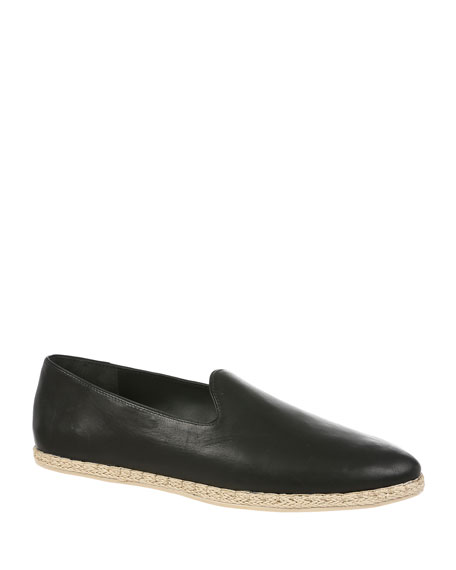 Malia Leather Flat Espadrille Loafers in Black Leather