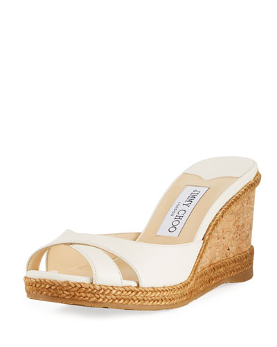 Wedge Slide Sandals with Braided Trim