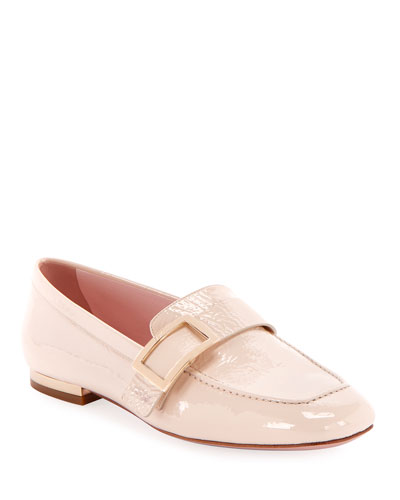Crinkle Patent Buckle Loafers