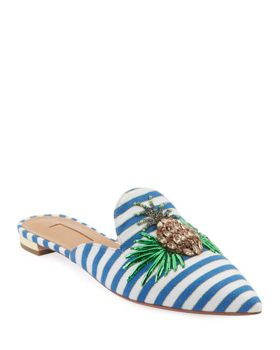 Pineapple Flat Nautical-Stripe Mules