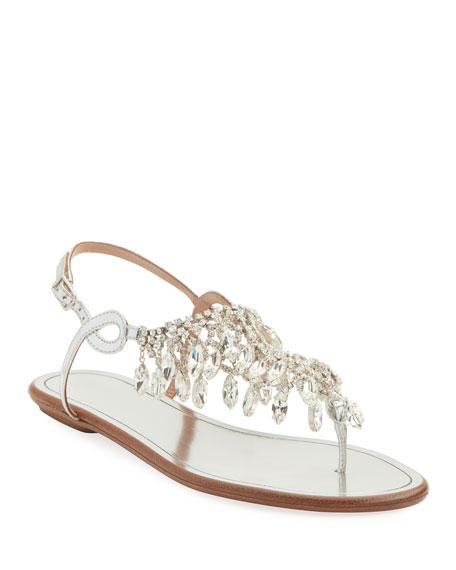 ca45d436047fcd Aquazzura Temptation Crystal Flat Sandals