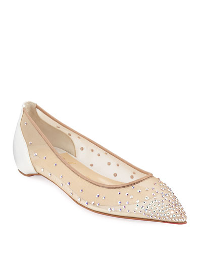 Follies Embellished Mesh Red Sole Flats