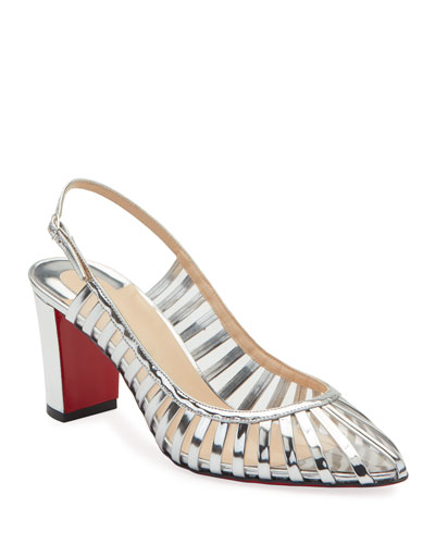 Jackie Caged Red Sole Pumps  Silver