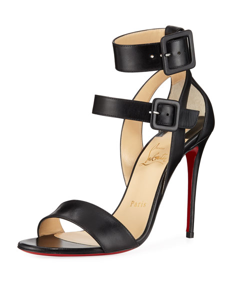 Christian Louboutin Multipot Leather Ankle-Wrap Red Sole Sandals