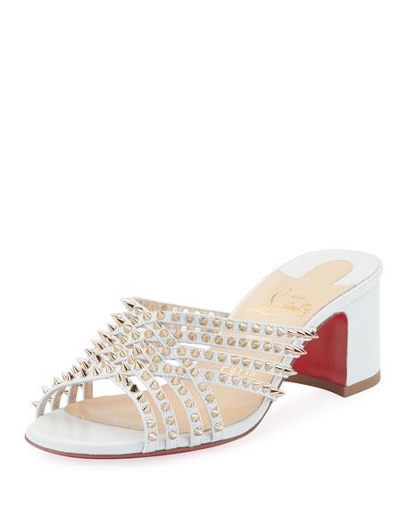 Christian Louboutin Martha Spike Red Sole Sandals, White
