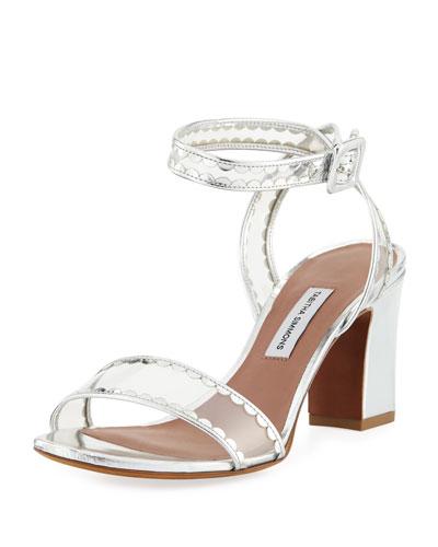 Leticia Frill Scallop PVC Block-Heel Sandals