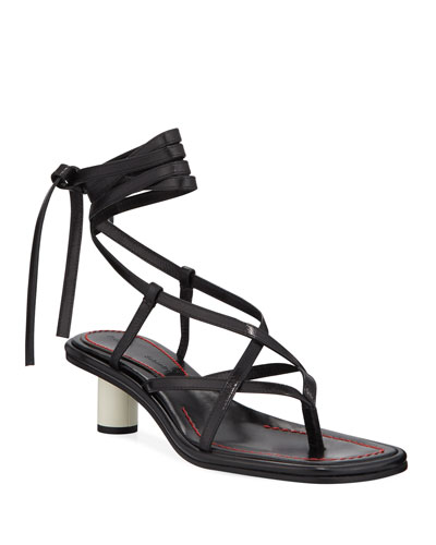 Strappy Ankle-Wrap Thong Sandals