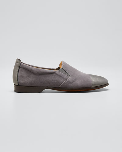 Metallic Cap-Toe Suede Loafers