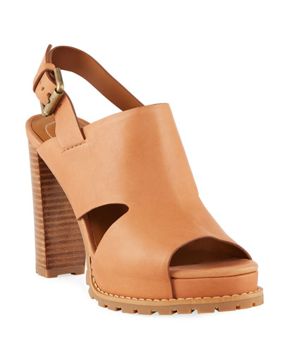 Brooke Slingback Platform Leather Sandals