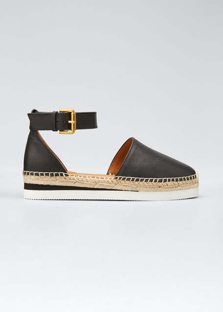 Glyn Flatform Leather Espadrilles