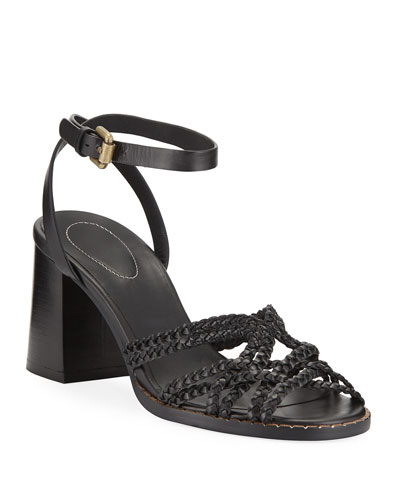 Katie Braided Leather Ankle-Strap Sandals