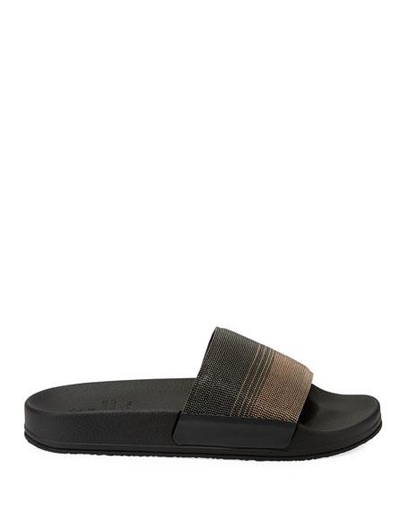 Monili Beaded Two-Tone Slide Sandals