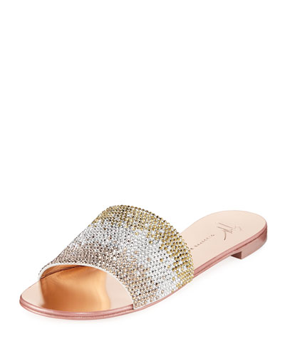 Crystal-Embellished Flat Metallic Slide Sandals