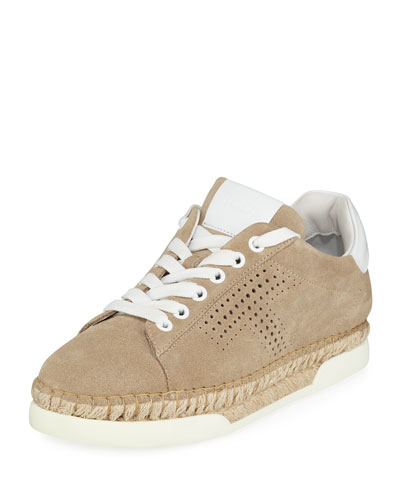 Perforated Lace-Up Espadrille Sneakers