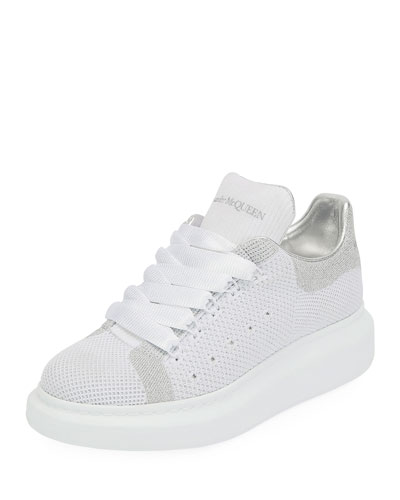 Knit and Leather Trainer Sneakers
