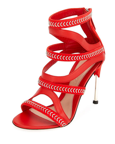 Cage Leather Chain-Trim Sandals, Red