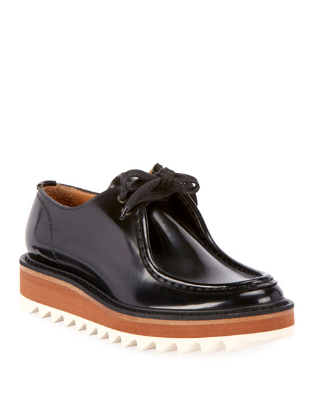 Dries Van Noten Platform Lace-Up Patent-Leather Wally Shoes