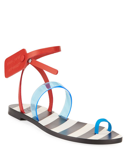 Off-White Zip Tie Capri Toe-Ring Sandals