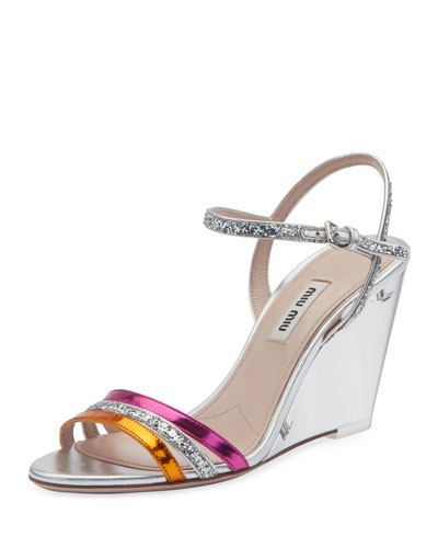 Plexi Glitter and Metallic Wedge Sandals
