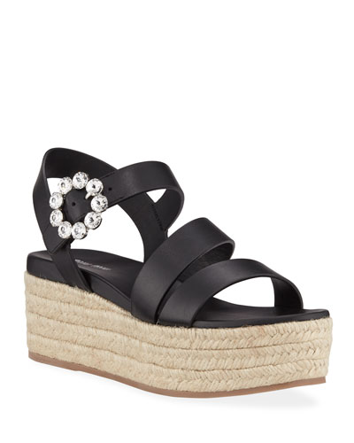 Napa Leather Platform Espadrilles