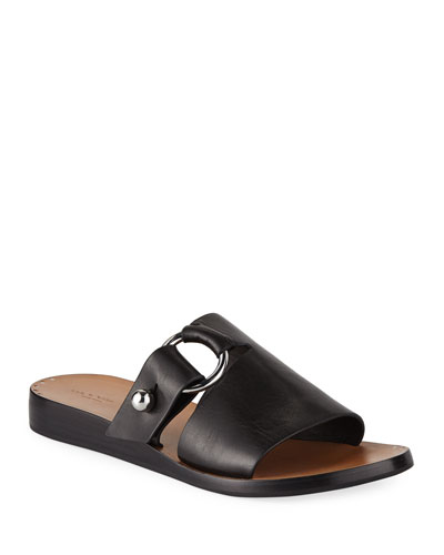 Arc Flat Leather Slide Sandals