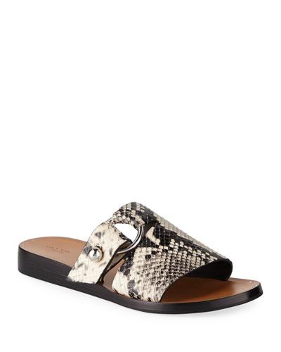 Arc Flat Snake-Print Slide Sandals