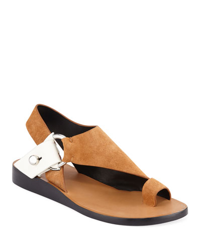 Arc Flat Suede Toe-Ring Sandals