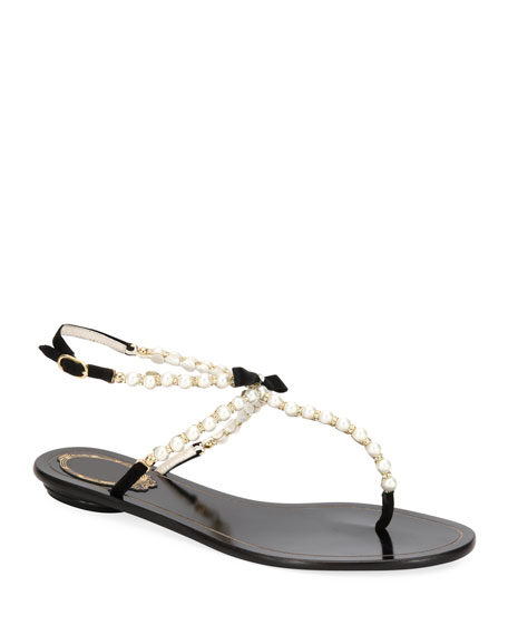 Rene Caovilla Pearly Beaded Flat Thong Sandals
